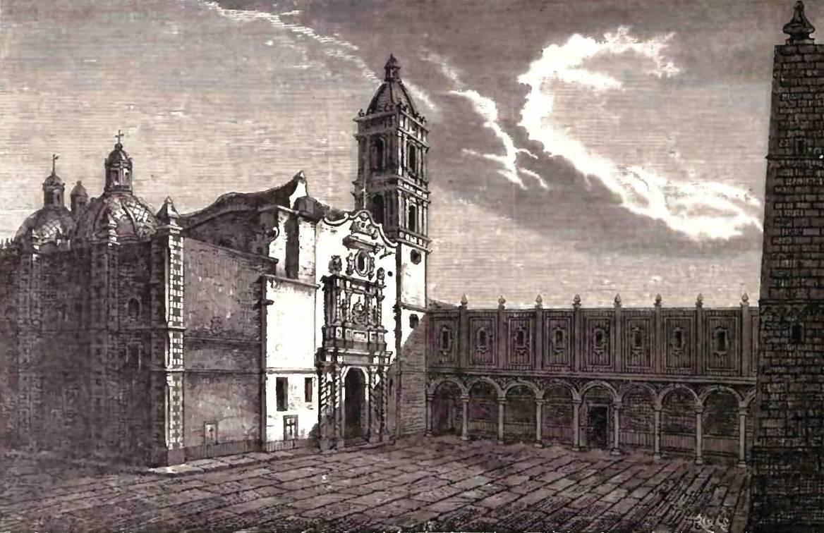 Foto 3. Convento y atrio de San Francisco. (Litrografía anónima)